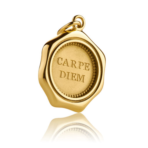 Expressiver Schmuck Gold Anhänger CARPE DIEM